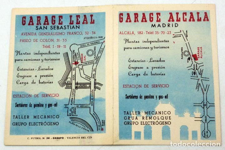 CALENDARIO CAMPEONATO NACIONAL LIGA 1951 - 1952 GARAJE ALCALÁ MADRID Y LEAL SAN SEBASTIÁN (Coleccionismo Deportivo - Documentos de Deportes - Calendarios)