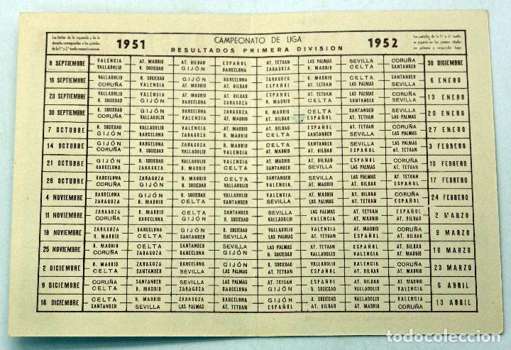 Coleccionismo deportivo: Calendario Campeonato Nacional Liga 1951 - 1952 Garaje Alcalá Madrid y Leal San Sebastián - Foto 2 - 78610533