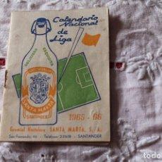 Coleccionismo deportivo: CALENDARIO NACIONAL DE LIGA 1965-66 GASEOSA SANTA MARTA (SANTANDER). Lote 79581513