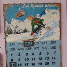 Coleccionismo deportivo: ESQUI / SKI VINTAGE PLACA / CHAPA (CALENDARIO METALICO) REF.002. Lote 80807555