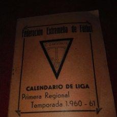 Coleccionismo deportivo: CALENDARIO DE LIGA AÑO 1960-61. Lote 83435995