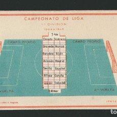 Coleccionismo deportivo: CALENDARIO DE FUTBOL.CAMPEONATO DE LIGA 1ª DIVISIÓN 1944-1945.PUBLICIDAD DE LÁMPARA METAL.. Lote 83785080