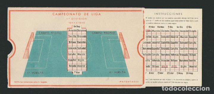 Coleccionismo deportivo: Calendario de futbol.Campeonato de liga 1ª división 1944-1945.Publicidad de lámpara Metal. - Foto 2 - 83785080
