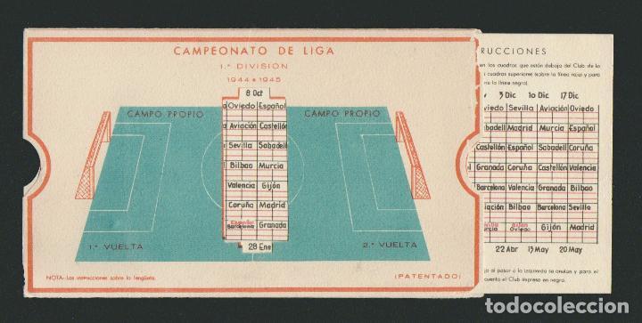 Coleccionismo deportivo: Calendario de futbol.Campeonato de liga 1ª división 1944-1945.Publicidad de lámpara Metal. - Foto 3 - 83785080