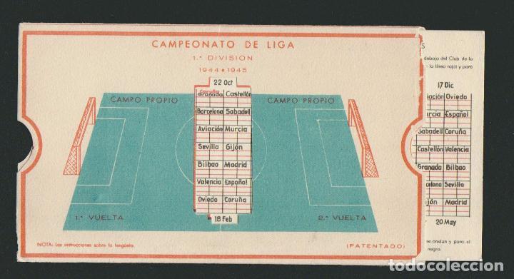 Coleccionismo deportivo: Calendario de futbol.Campeonato de liga 1ª división 1944-1945.Publicidad de lámpara Metal. - Foto 4 - 83785080