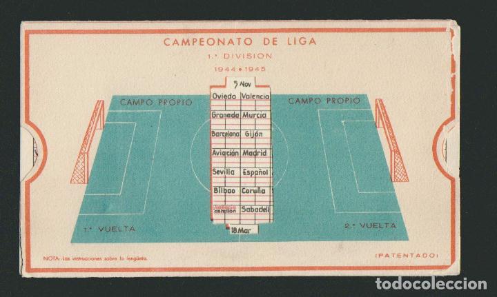 Coleccionismo deportivo: Calendario de futbol.Campeonato de liga 1ª división 1944-1945.Publicidad de lámpara Metal. - Foto 5 - 83785080