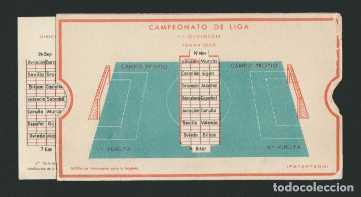 Coleccionismo deportivo: Calendario de futbol.Campeonato de liga 1ª división 1944-1945.Publicidad de lámpara Metal. - Foto 6 - 83785080