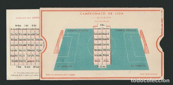 Coleccionismo deportivo: Calendario de futbol.Campeonato de liga 1ª división 1944-1945.Publicidad de lámpara Metal. - Foto 7 - 83785080