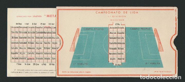 Coleccionismo deportivo: Calendario de futbol.Campeonato de liga 1ª división 1944-1945.Publicidad de lámpara Metal. - Foto 8 - 83785080