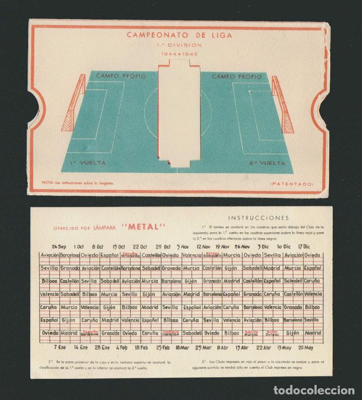Coleccionismo deportivo: Calendario de futbol.Campeonato de liga 1ª división 1944-1945.Publicidad de lámpara Metal. - Foto 9 - 83785080