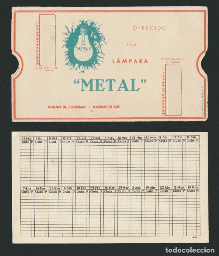 Coleccionismo deportivo: Calendario de futbol.Campeonato de liga 1ª división 1944-1945.Publicidad de lámpara Metal. - Foto 10 - 83785080