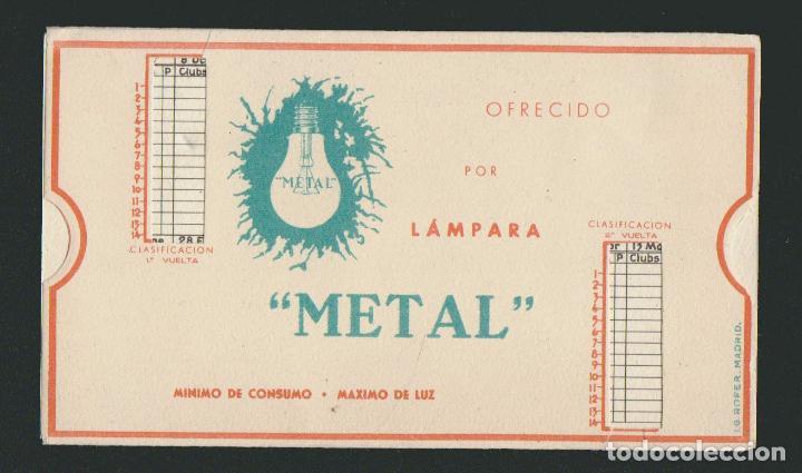 Coleccionismo deportivo: Calendario de futbol.Campeonato de liga 1ª división 1944-1945.Publicidad de lámpara Metal. - Foto 12 - 83785080