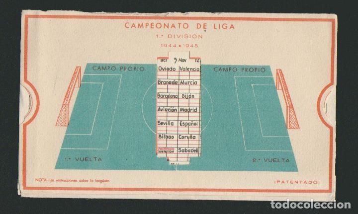 CALENDARIO DE FUTBOL.CAMPEONATO DE LIGA 1ª DIVISIÓN 1944-1945.PUBLICIDAD DE LÁMPARA METAL. (Coleccionismo Deportivo - Documentos de Deportes - Calendarios)
