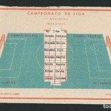 Coleccionismo deportivo: CALENDARIO DE FUTBOL.CAMPEONATO DE LIGA 1ª DIVISIÓN 1944-1945.PUBLICIDAD DE LÁMPARA METAL.. Lote 83786440