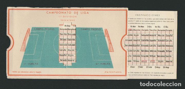 Coleccionismo deportivo: Calendario de futbol.Campeonato de liga 1ª división 1944-1945.Publicidad de lámpara Metal. - Foto 2 - 83786440