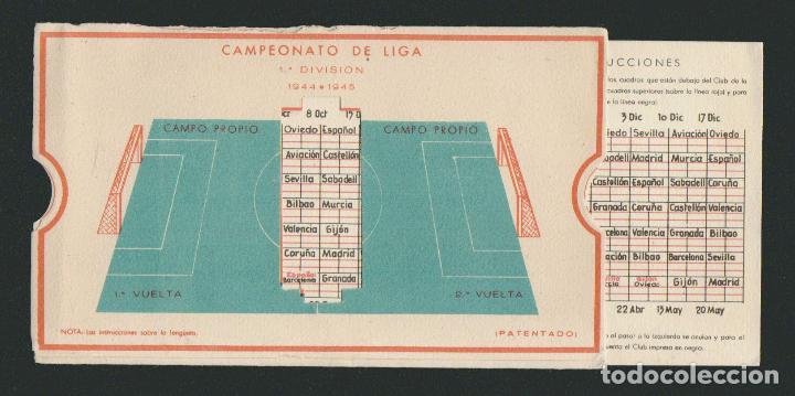 Coleccionismo deportivo: Calendario de futbol.Campeonato de liga 1ª división 1944-1945.Publicidad de lámpara Metal. - Foto 3 - 83786440