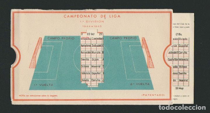 Coleccionismo deportivo: Calendario de futbol.Campeonato de liga 1ª división 1944-1945.Publicidad de lámpara Metal. - Foto 4 - 83786440