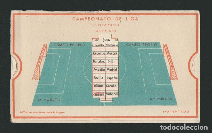 Coleccionismo deportivo: Calendario de futbol.Campeonato de liga 1ª división 1944-1945.Publicidad de lámpara Metal. - Foto 5 - 83786440