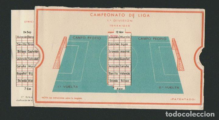 Coleccionismo deportivo: Calendario de futbol.Campeonato de liga 1ª división 1944-1945.Publicidad de lámpara Metal. - Foto 6 - 83786440
