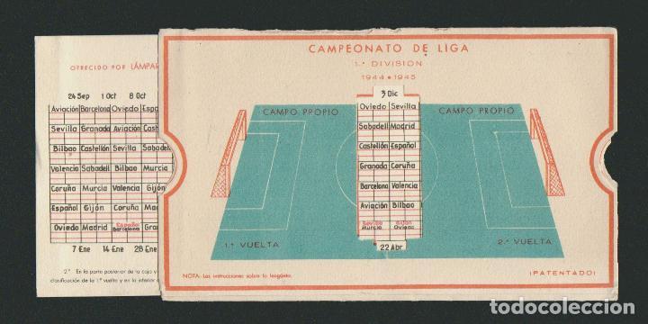 Coleccionismo deportivo: Calendario de futbol.Campeonato de liga 1ª división 1944-1945.Publicidad de lámpara Metal. - Foto 7 - 83786440