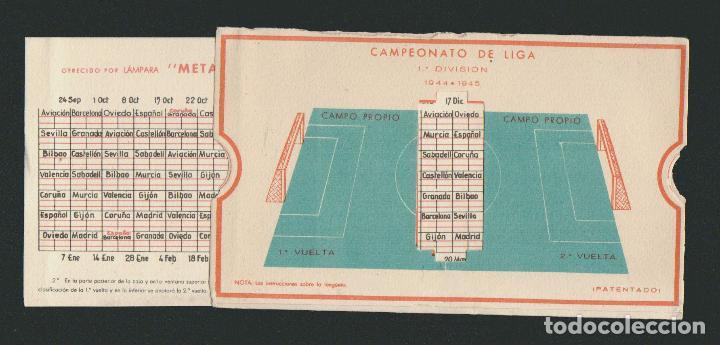 Coleccionismo deportivo: Calendario de futbol.Campeonato de liga 1ª división 1944-1945.Publicidad de lámpara Metal. - Foto 8 - 83786440