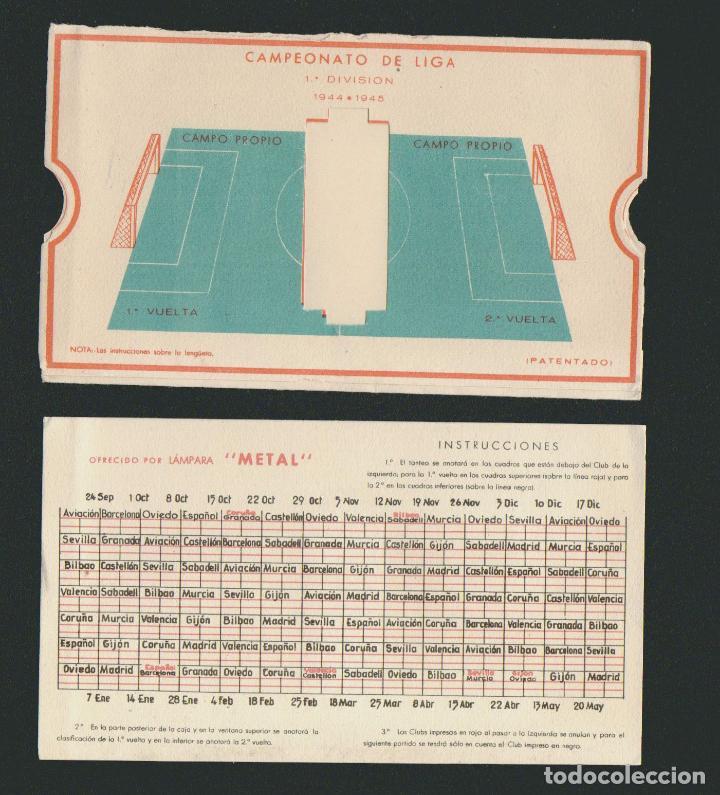 Coleccionismo deportivo: Calendario de futbol.Campeonato de liga 1ª división 1944-1945.Publicidad de lámpara Metal. - Foto 9 - 83786440