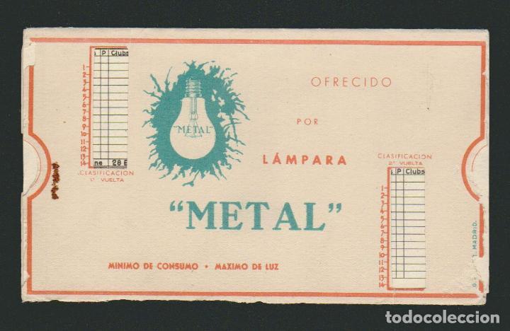 Coleccionismo deportivo: Calendario de futbol.Campeonato de liga 1ª división 1944-1945.Publicidad de lámpara Metal. - Foto 11 - 83786440