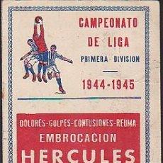 Coleccionismo deportivo: CALENDARIO FUTBOL PUBLICITARIO EMBROCACION HERCULES TEMPORADA 1944/1945. Lote 85388288