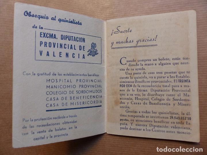Coleccionismo deportivo: FUTBOL - CALENDARIO DEL QUINIELISTA LIGA 1º Y 2º DIVISION - TEMPORADA 1952-1953, DIPUTACION VALENCIA - Foto 3 - 96296406
