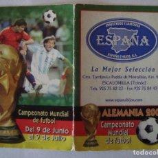 Coleccionismo deportivo: CALENDARIO MUNDIAL DE FUTBOL ALEMANIA 2006. Lote 10233659