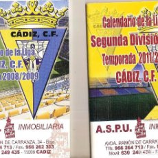 Coleccionismo deportivo: LOTE 2 CALENDARIOS CÁDIZ CF 2008/09 Y 2011/12 . Lote 96162667