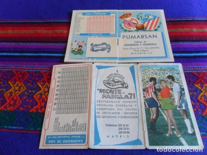 CALENDARIO LIGA 1961 62 Y 1962 63. REAL MADRID Y ATLÉTICO DE MADRID. REGALO 1989 90. RAROS. (Coleccionismo Deportivo - Documentos de Deportes - Calendarios)