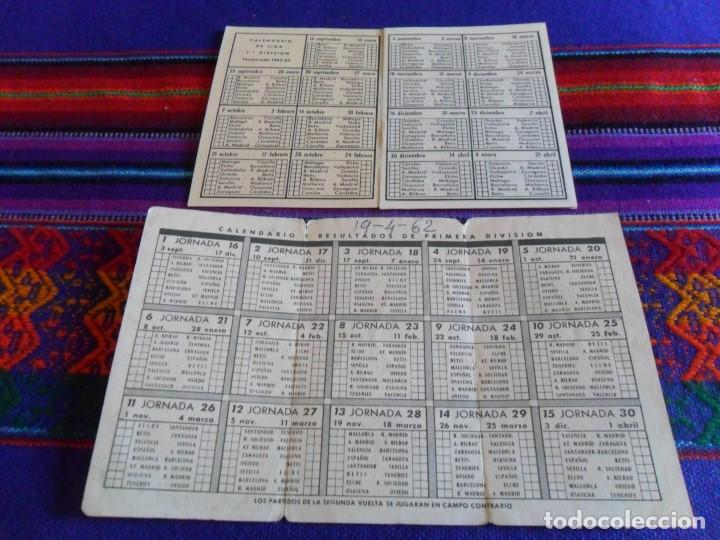 Coleccionismo deportivo: CALENDARIO LIGA 1961 62 Y 1962 63. REAL MADRID Y ATLÉTICO DE MADRID. REGALO 1989 90. RAROS. - Foto 2 - 98124515