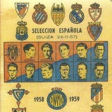 Coleccionismo deportivo: CALENDARIO DINÁMICO 1958/59 58/59. Lote 102712791