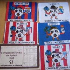 Coleccionismo deportivo: LOTE 6 CALENDARIOS ORIGINALES ANTIGUOS DE FUTBOL MUNDIAL ESPAÑA 82. Lote 105088843