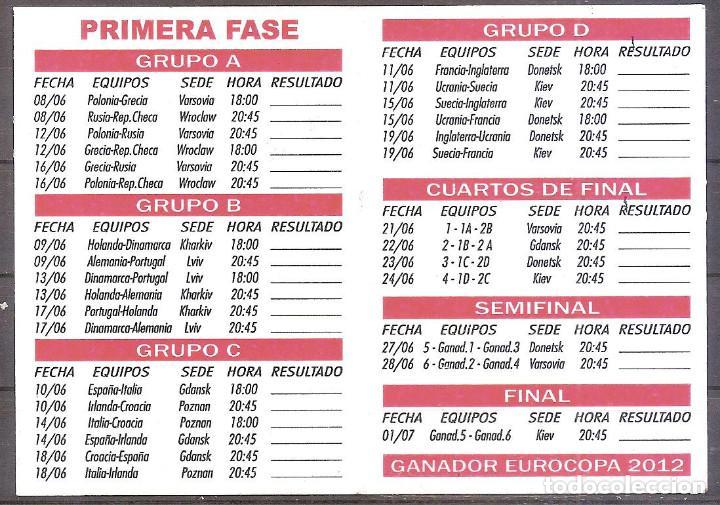 Coleccionismo deportivo: CALENDARIO EUROCOPA 2012,PUBLICIDAD IMPRENTA EXTREMADURA,MIAJADAS,CACERES.. - Foto 2 - 109405547