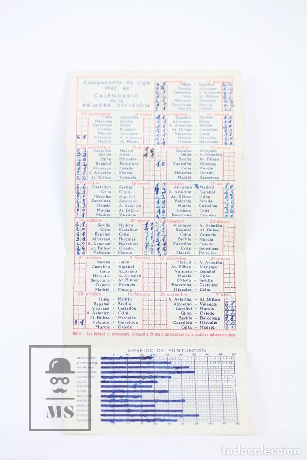 Coleccionismo deportivo: Antiguo Calendario De Fútbol - Campeonato De Liga 1ª División 1945-1946 - Martini Rossi - Año 1945 - Foto 2 - 111949359