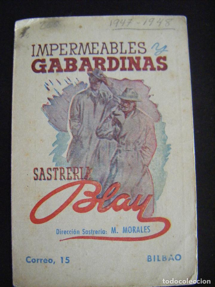 JML FUTBOL CALENDARIO CAMPEONATO DE LIGA 1947 - 48 IMPERMEHABLES Y GABARDINAS SASTRERIA BLAY BILBAO (Coleccionismo Deportivo - Documentos de Deportes - Calendarios)