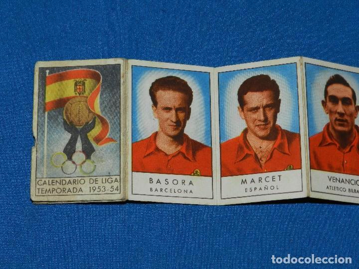 CALENDARIO DE LIGA TEMPARADA 1953 - 54 , IMAGENES DEL EQUIPO DE LA SELECCION ESPAÑOLA, GAINZA , ETC (Coleccionismo Deportivo - Documentos de Deportes - Calendarios)