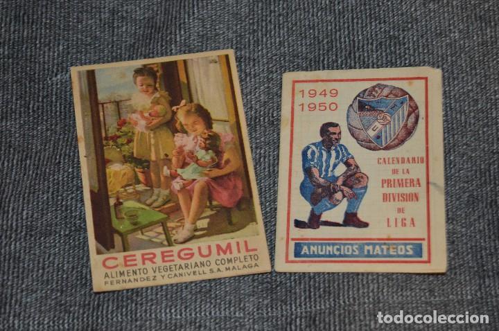 LOTE DE 2 ANTIGUOS CALENDARIOS DE FÚTBOL - AÑOS 40 Y 50 - MÁLAGA / CEREGUMIL - VINTAGE - HAZ OFERTA (Coleccionismo Deportivo - Documentos de Deportes - Calendarios)