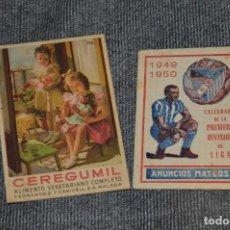 Coleccionismo deportivo: LOTE DE 2 ANTIGUOS CALENDARIOS DE FÚTBOL - AÑOS 40 Y 50 - MÁLAGA / CEREGUMIL - VINTAGE - HAZ OFERTA. Lote 117579543