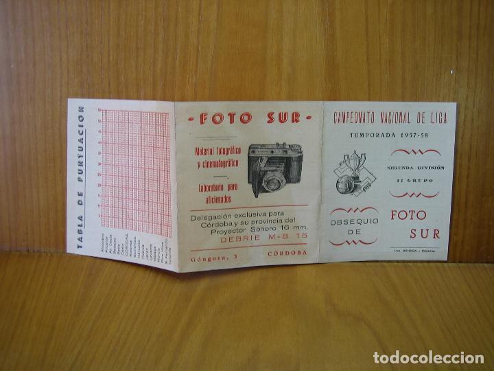Coleccionismo deportivo: Antiguo calendario campeonato Nacional de Liga de Fútbol. Temporada 1957-58 segunda Divicion Cordoba - Foto 2 - 118302995