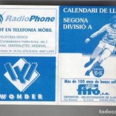 Coleccionismo deportivo: CALENDARI DE LLIGA. SEGONA DIVISIÓ A. TEMPORADA 95-96. ALMANAQUE DESPLEGABLE 4 PARTES. Lote 119021015