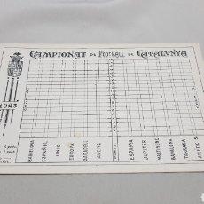Coleccionismo deportivo: RARA TARJETA CALENDARIO DEL CAMPIONAT DE FOOTTBALL DE CATALUNYA 1923 . MUY DIFICIL. Lote 120602124