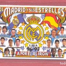 Coleccionismo deportivo: CALENDARIO DE BOLSILLO PLASTIFICADO REAL MADRID 1997, LIGA 96-97,NUEVO, VER FOTOS. Lote 122257511