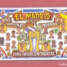 Coleccionismo deportivo: CALENDARIO DE BOLSILLO PLASTIFICADO REAL MADRID 1999,NUEVO, VER FOTOS. Lote 122258191