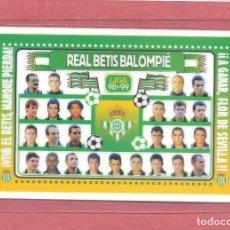 Coleccionismo deportivo: CALENDARIO DE BOLSILLO PLASTIFICADO REAL BETIS 1999, LIGA 98-99, NUEVO, VER FOTOS. Lote 122259483