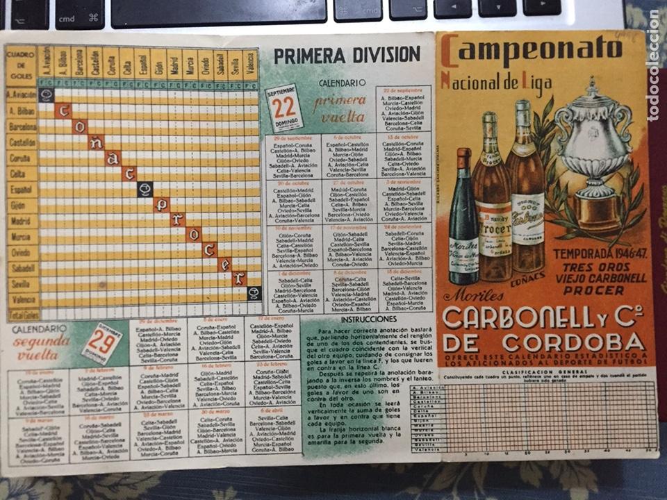Coleccionismo deportivo: Calendario liga fútbol 1946/47 - Foto 4 - 125975578