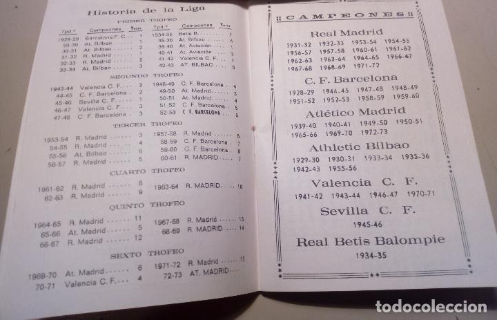 Coleccionismo deportivo: FUTBOL - CAMPEONES DE LIGA DESDE 1928 - CALENDARIO LLOMARA - HISTORIA DE LA LIGA - RESULTADOS-1973 - Foto 3 - 127192263
