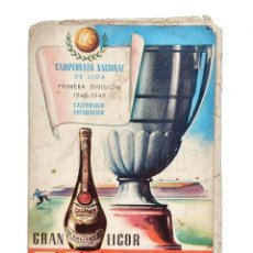 Coleccionismo deportivo: CALENDARIO DE LIGA TEMPORADA 1948 1949 FÚTBOL DE PRIMERA DIVISÓN. PUBLICIDAD LICOR CALISAY. Lote 127633479